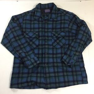 Men's Pendleton Blue Wool Flannel Shirt XL